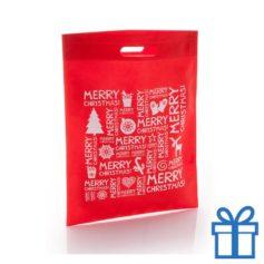 Non woven tas merry christmas rood bedrukken