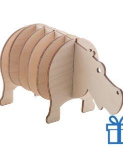 Onderzetters hout dierenvorm nijlpaard bedrukken