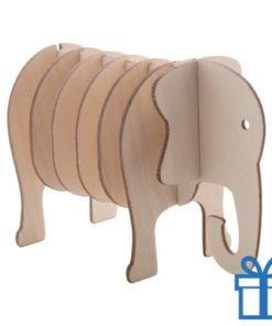 Onderzetters hout dierenvorm olifant bedrukken