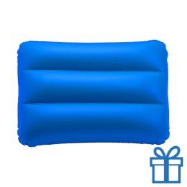 Opblaasbaar strandkussen blauw bedrukken