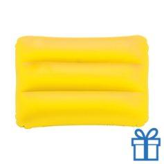 Opblaasbaar strandkussen geel bedrukken