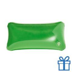 Opblaasbaar strandkussentje groen bedrukken