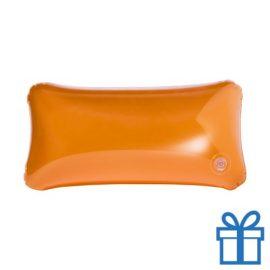 Opblaasbaar strandkussentje oranje bedrukken