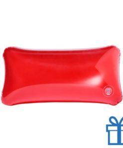 Opblaasbaar strandkussentje rood bedrukken