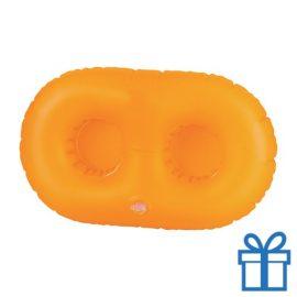 Opblaasbare bekerhouder oranje bedrukken