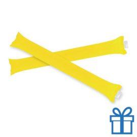 Opblaasbare cheering sticks 2 stuks geel bedrukken