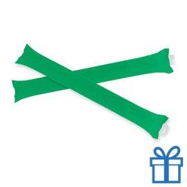 Opblaasbare cheering sticks 2 stuks groen bedrukken