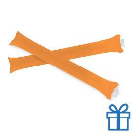 Opblaasbare cheering sticks 2 stuks oranje bedrukken
