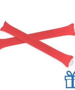 Opblaasbare cheering sticks 2 stuks rood bedrukken