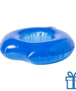 Opblaasbare drankjeshouder donut blauw bedrukken