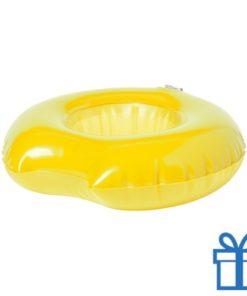 Opblaasbare drankjeshouder donut geel bedrukken