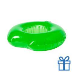 Opblaasbare drankjeshouder donut groen bedrukken