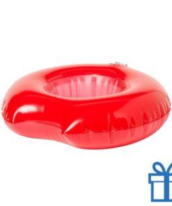 Opblaasbare drankjeshouder donut rood bedrukken