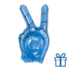 Opblaasbare hand peace blauw bedrukken