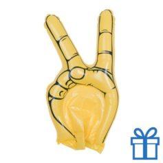 Opblaasbare hand peace geel bedrukken