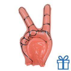 Opblaasbare hand peace rood bedrukken
