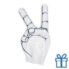 Opblaasbare hand peace wit bedrukken