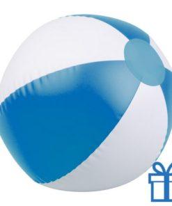 Opblaasbare strandbal wit blauw bedrukken