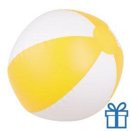 Opblaasbare strandbal wit geel bedrukken
