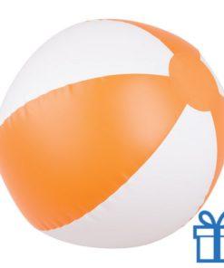 Opblaasbare strandbal wit oranje bedrukken