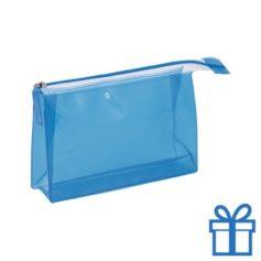 PVC toilettas make-up bag blauw bedrukken