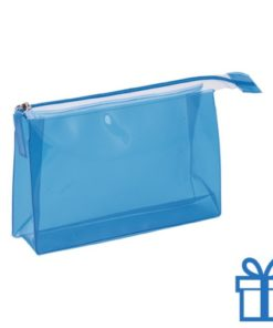 PVC toilettas make-up bag blauw bedrukken