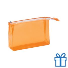 PVC toilettas make-up bag oranje bedrukken