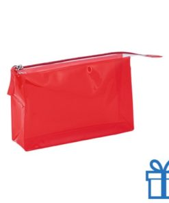 PVC toilettas make-up bag rood bedrukken