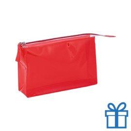 PVC toilettas make-up bag rood bedrukken