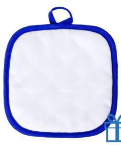 Pannenlap randje blauw bedrukken