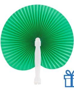 Papieren waaier goedkoop opvouwbaar  groen bedrukken