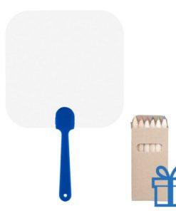 Papieren waaier vierkant op maat blauw bedrukken