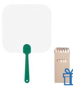 Papieren waaier vierkant op maat groen bedrukken