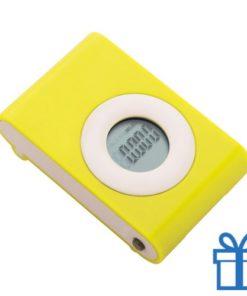 Pedometer stappenteller geel bedrukken