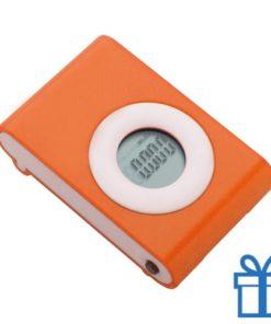 Pedometer stappenteller oranje bedrukken