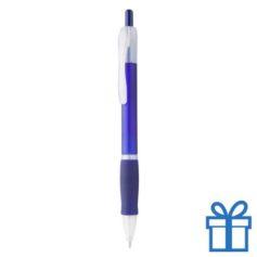 Pen met rubberen grip goedkoop blauw bedrukken