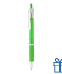 Pen met rubberen grip goedkoop lime groen bedrukken