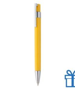 Pen zilveren clip geel