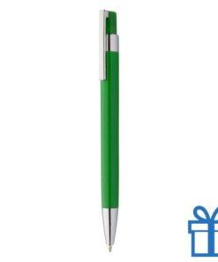 Pen zilveren clip groen