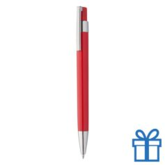 Pen zilveren clip rood