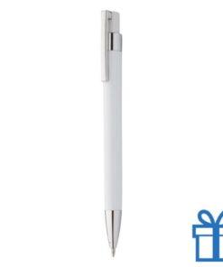 Pen zilveren clip wit