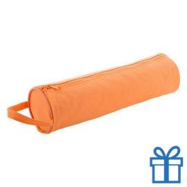 Pennen etui rond oranje