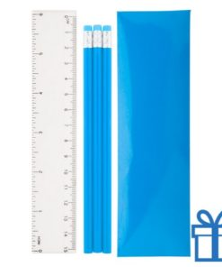 Pennenset 4-delig blauw bedrukken