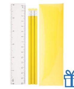 Pennenset 4-delig geel bedrukken