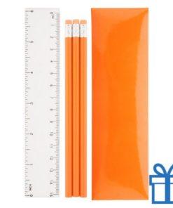 Pennenset 4-delig oranje bedrukken