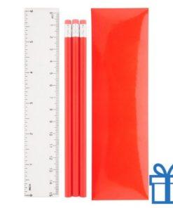 Pennenset 4-delig rood bedrukken