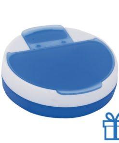 Pillendoosje rond blauw bedrukken