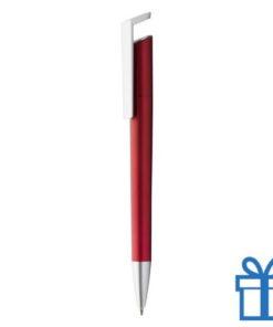 Plastic balpen metallickleur rood