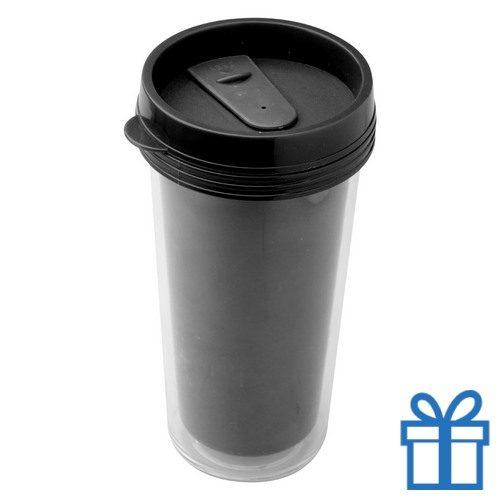 Plastic drinkbeker grafisch 450ml zwart bedrukken
