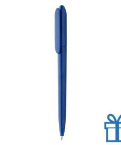 Plastic goedkope balpen bedrukt blauw
